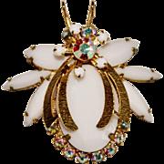 Vintage Juliana D&E White Glass AB Rhinestone Bug Fly Bee Figural Brooch