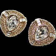Elegant Vintage CINER Clear Pave Rhinestone Large Crystal Clip Earrings