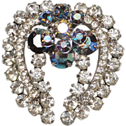 Vintage Juliana D&E Clear & Heliotrope Rhinestone Laurel Wreath Brooch Pin