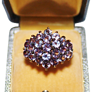 Sterling Silver Vermeil Color Change Sapphire Cluster Cocktail Ring, Size 8