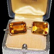 Estate 14k Yellow Gold Citrine Drop Earrings, 11+ CTW