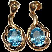 Lovely 10k Yellow Gold Blue Topaz Dangle Drop Earrings, 5.36 CTW