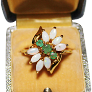 Opal & Emerald Cluster Cocktail Ring, Sterling Silver Vermeil, Size 10