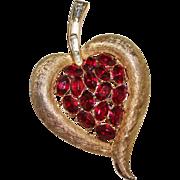 Vintage TRIFARI Ruby Red Rhinestone Brushed Gold Tone Heart Shaped Leaf Brooch
