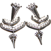 Vintage Late 1940's Sterling Silver LOS CASTILLO Articulated Bird Earrings, 189