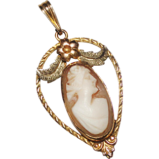 Antique 10k Gold Carved Cameo Lavalier Pendant, FMCO, 2.3 Grams, Tri Color Gold