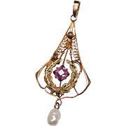 Antique 10k Yellow Gold Amethyst Seed Pearl Lavalier Pendant 1.3 Grams Lavaliere
