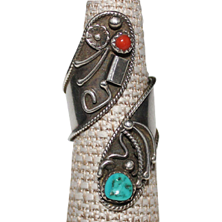 Bold Navajo Sterling Silver Coral & Turquoise Wrap Bypass Ring Adjustable Size 8
