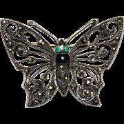Vintage Sterling Silver GERMANY Marcasite & Enamel Butterfly Figural Pin Brooch