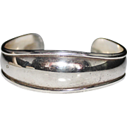 Elegant Estate Sterling Silver Mexico Mexican Cuff Bracelet, 17.7 Grams