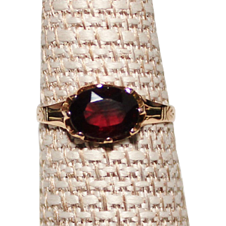 Antique Victorian 10k Yellow Gold Oval Faceted Garnet Ring, Size 7.5, 1.4 Grams