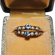 Pair of Art Deco 14k Rose Gold Seed Pearl & Blue Spinel Rings, Size 8.75