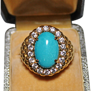 Stunning Sterling Vermeil Turquoise Cabochon CZ Studded Statement Ring Sz 7