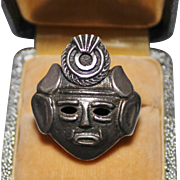 Vintage Sterling Silver Mexican Aztec Mayan Face Mask Warrior Ring, Size 9.5