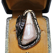 Vintage Navajo Indian Sterling Silver Pink Mussel Shell MOP Ring, Size 8.5