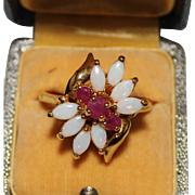 Opal & Ruby Cluster Cocktail Ring, Sterling Silver Vermeil, Size 10