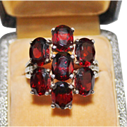 Rich & Bold Sterling Silver Garnet Cluster Cocktail Ring, Size 7 1/2, 7.5 Grams