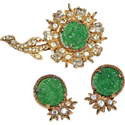 Vintage EISENBERG ICE Faux Jade & Rhinestone Flower Brooch & Earrings Set