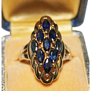 Very Pretty Sterling Silver Vermeil Sapphire Marquise Cluster Ring, Size 8.75