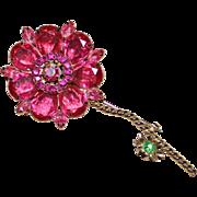 Juliana D&E Pink & Green Rhinestone Large Flower Brooch Pin