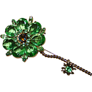 Large Juliana D&E Pale Green Rhinestone Flower Brooch Pin