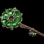 Large Juliana D&E Pale Green Rhinestone Flower Brooch Pin