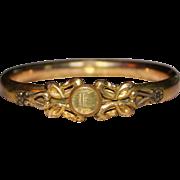 Antique Victorian A C CO Gold Filled Childs Hinged Bangle Bracelet Monogram E