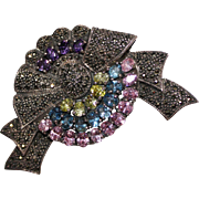 Beautiful Estate Sterling Silver Marcasite Multi Color Topaz & Quartz Brooch Pin