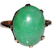 Vintage 14k Rose Gold Apple Green Jade Cabochon Ring, Size 6, 3.1 Grams