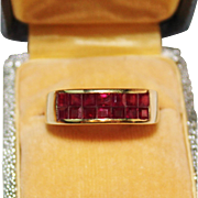 Pretty 14k Yellow Gold Invisibly Set Rubies Ruby Ring Band, Size 7, 4 Grams