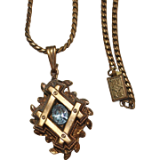 1930's Art Deco Brass Blue Rhinestone Pendant Necklace