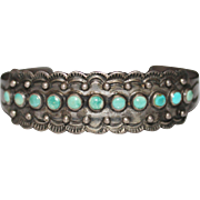 Fred Harvey Era Turquoise Snake Eye Indian Handmade IH Coin Silver Cuff Bracelet
