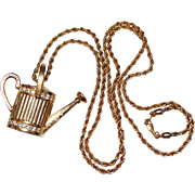 SWAROVSKI Crystal 3-D Gold Watering Can Pendant Necklace, SWAN Hallmark