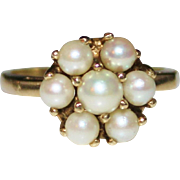 Vintage 10k Yellow Gold Elegant Cultured Pearl Cluster Flower Ring, Size 5.75
