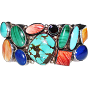 Bold Navajo SAM PIASO Multi Gemstone Turquoise Lapis Cuff Bracelet, 86.8 Grams