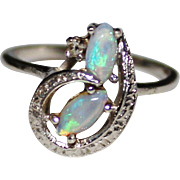 Vintage 14k White Gold Natural Opal & Diamond Ring, Size 5 1/2
