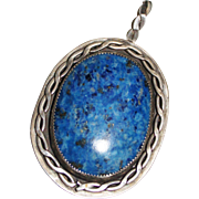 Southwest Handmade Sterling Silver Rope Design Blue Denim Lapis Pendant, 23.9G