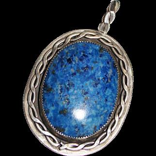 Southwest Handmade Sterling Silver Rope Design Blue Denim Lapis Pendant, 23.9G