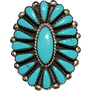 Bold ZUNI Indian Turquoise Petit Point Cluster Ring, Size 9 1/2