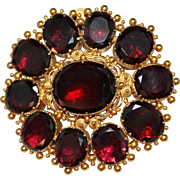 Antique GEORGIAN 18k Yellow Gold Cannetille Foil Garnet Brooch Pendant 16.9 Gram