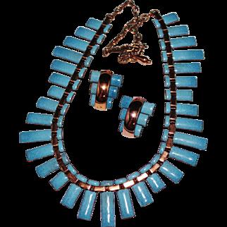 """Vintage MATISSE Renoir Blue Enamel """"Peter Pan"""" Cleopatra Bib Necklace Earrings Set"""