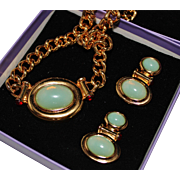 ELIZABETH TAYLOR for Avon Faux Jade & Ruby Necklace Earrings Set in Box, ca. 1995