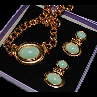ELIZABETH TAYLOR for Avon Faux Jade & Ruby Necklace Earrings Set in Box, ca. 1995