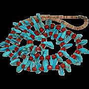 "Vintage Navajo 1960's Nugget Turquoise Mediterranean Coral Heishi Necklace, 32"""