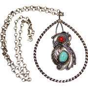 Vintage 1970's Navajo Signed CJT Sterling Turquoise & Coral Pendant Necklace