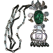 Vintage Mexican Mayan Aztec Warrior Carved Chrysocolla Sterling Pendant Necklace