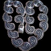 Vintage Los Castillo Sterling Silver Spirals Necklace. Design 392