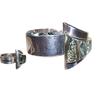Vintage Villasana Taxco Mexico Sterling Silver Abalone Modernist Cuff Bracelet and Ring