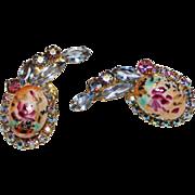 Juliana D&E Painted Rose Limoges Rhinestone Cabochon Glass Earrings, Easter Egg