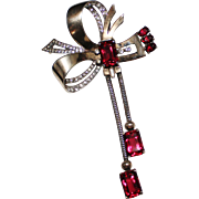 Vintage MAZER Sterling Ruby Red Rhinestone Bown Dangle Brooch Pin